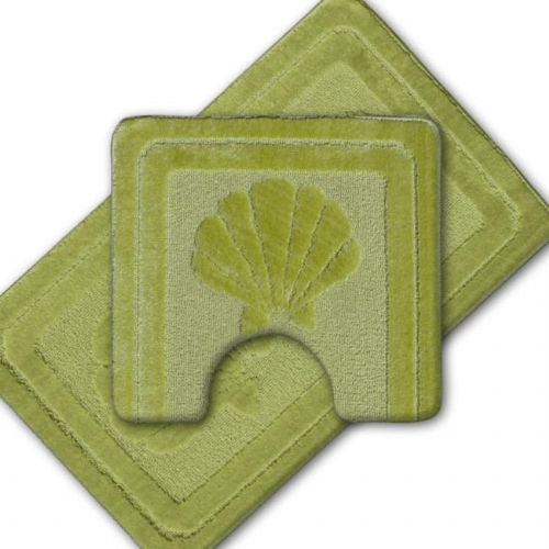 LUXURY 2 PEICE NON SLIP BATH MAT & PEDESTAL LIME GREEN